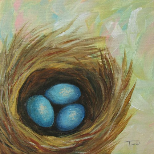 """Robin's Blue Eggs III"" original fine art by Torrie Smiley"