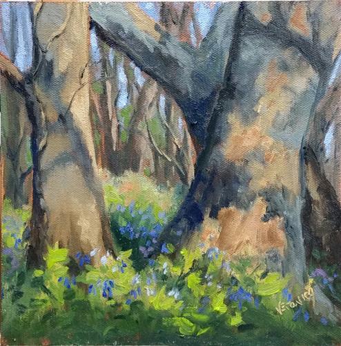 """Bluebells at Meramec state Park-en plein air"" original fine art by Veronica Brown"