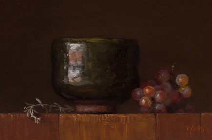 """""""Desert Sage and Korean Bowl with Grapes"""" original fine art by Abbey Ryan"""