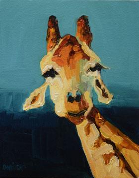 """GIRAFFE ANIMAL ART OIL PAINTING GIRAFFE ARTOUTWEST D WHITEHEAD"" original fine art by Diane Whitehead"
