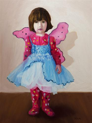 """Angel in Jammies and Tutu"" original fine art by Jana Bouc"