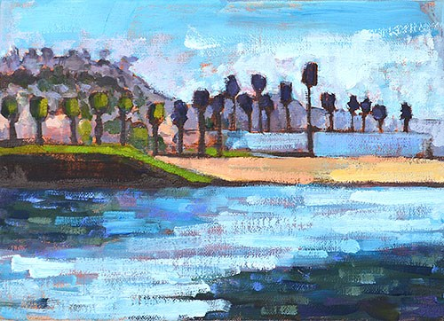 """""""Dog Beach, OB"""" original fine art by Kevin Inman"""