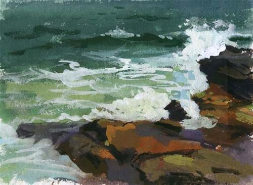 """Waves and rocks- sold"" original fine art by Kathy Weber"