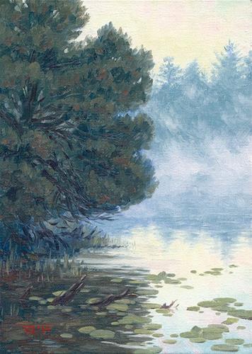 """C1553 Fisherman in the Mist"" original fine art by Steven Thor Johanneson"