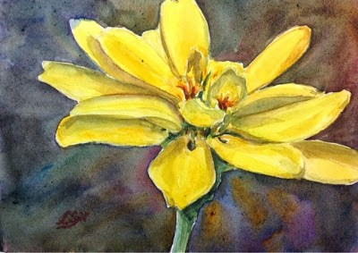 """Day 12 - Golden Zinnia"" original fine art by Lyn Gill"