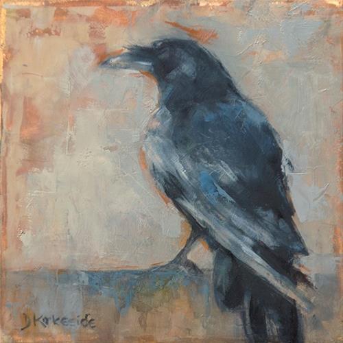 """""""Waiting - raven painting by Deb Kirkeeide"""" original fine art by Deb Kirkeeide"""