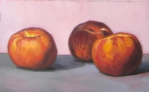 """6- Three peaches"" original fine art by Edward Watson"
