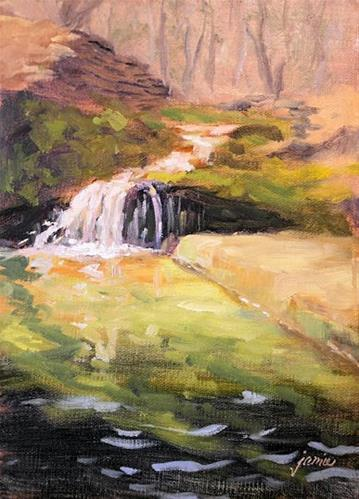 """Waterfall in Greens and Pinks"" original fine art by Jamie Williams Grossman"