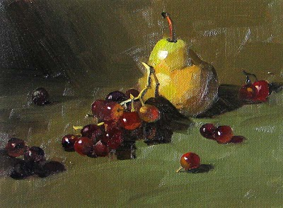 """""""A Pear & Grapes --- Sold"""" original fine art by Qiang Huang"""