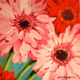 """""""White, Pink, Red Valentine daisies"""" original fine art by JoAnne Perez Robinson"""