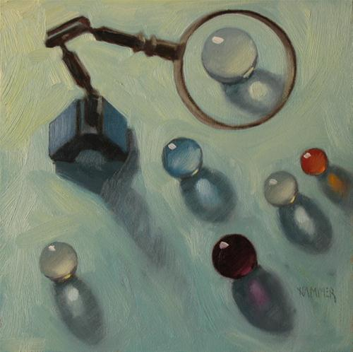 """""""Inspection  6x6  oil on gessobord"""" original fine art by Claudia Hammer"""