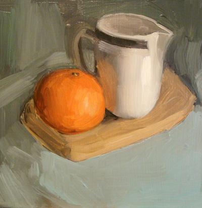 """Mandarin Orange and Cream Pitcher"" original fine art by Michael William"