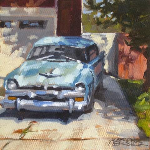 """""""Car Around The Corner"""" original fine art by Karen Werner"""