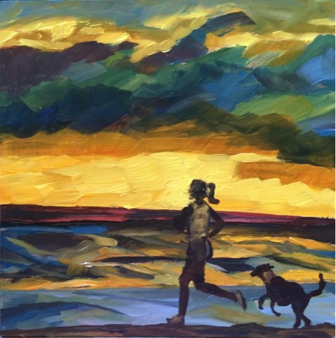 """Sunset Run"" original fine art by Piya Samant"