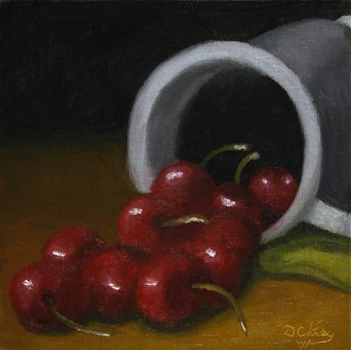 """""""Kitchen Painting – Cherries and Pewter 001"""" original fine art by Dave Casey"""