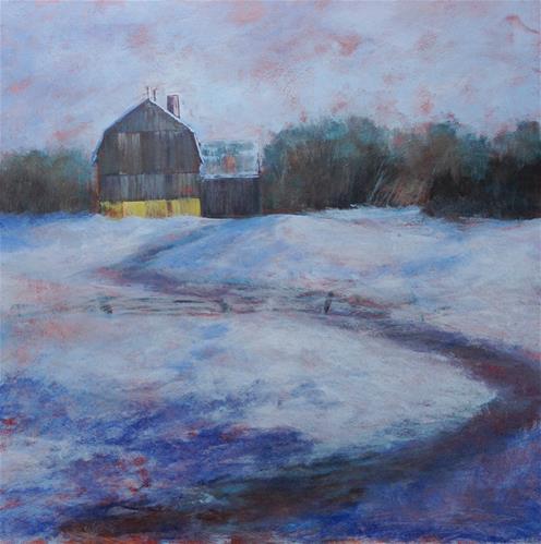 """Blue Time with Barn | 20x20"" original fine art by Eileen Hennemann"
