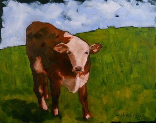 """""""Moo, Moo Little Cow"""" original fine art by Claire Henning"""