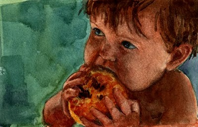 """""""Watercolor: Baby's First Peach (& a painting by Vicky Knowles)"""" original fine art by Belinda Del Pesco"""