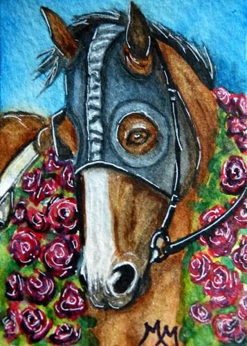 """Garland of Roses"" original fine art by Monique Morin Matson"