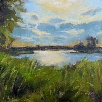 """Oil Painting of Lake Glenview"" original fine art by Deb Anderson"