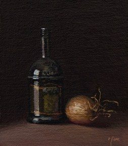 """""""Still Life with Olive Oil and Onion  (+ GIVING)"""" original fine art by Abbey Ryan"""