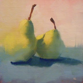 """PAIR OF PEARS ENCORE"" original fine art by Helen Cooper"