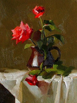 """""""Red Rose --- Sold"""" original fine art by Qiang Huang"""