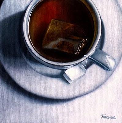 """White Porcelain & Hot Tea"" original fine art by Jelaine Faunce"