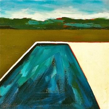 """The Grass Is Always Greener- Country Pool"" original fine art by Janet Bludau"