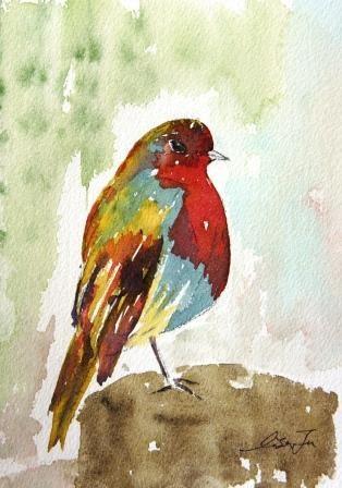 """songbird"" original fine art by Lisa Fu"