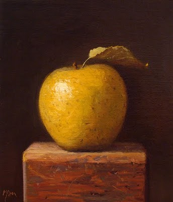 """Gold Rush Apple on a Wood Block"" original fine art by Abbey Ryan"