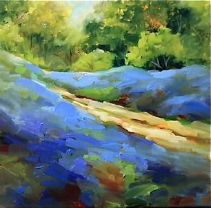 """Blue Jean Bluebonnets by Texas Flower Artist Nancy Medina"" original fine art by Nancy Medina"