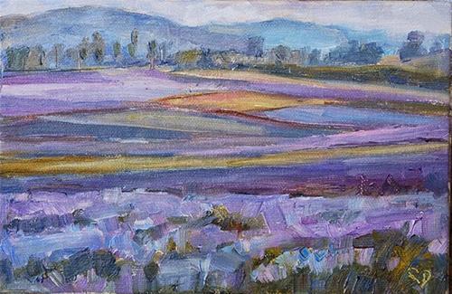 """Day 8- Fields of Tuscany"" original fine art by Carol DeMumbrum"