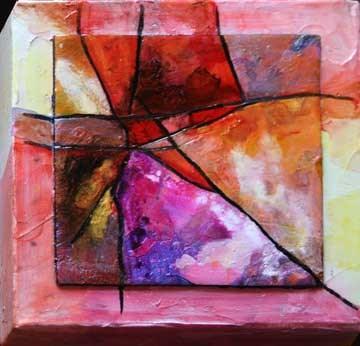 """""""Little Red Abstract"""" original fine art by Kara Butler English"""