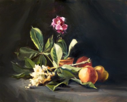 """""""Oil Painting: Horsechestnut, Orchid, and Peaches"""" original fine art by Deb Anderson"""