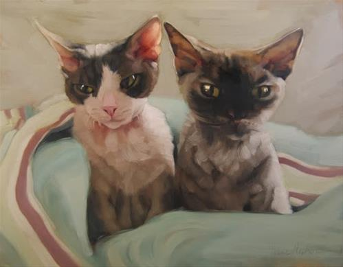 """""""Yoda and Ripley cat painting commission"""" original fine art by Diane Hoeptner"""