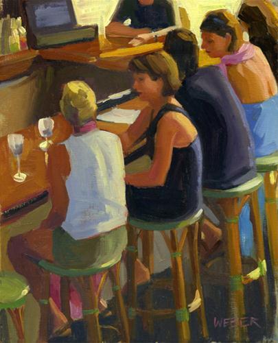 """Girl Talk"" original fine art by Kathy Weber"