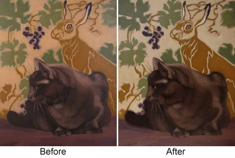 """Hop Away II before and after fixing a painting"" original fine art by Diane Hoeptner"