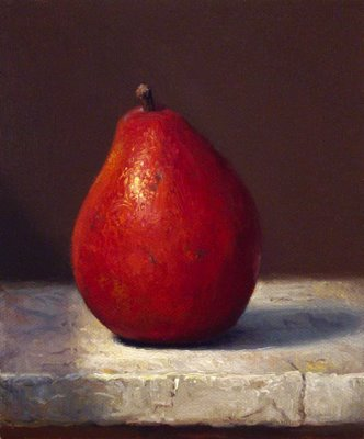 """""""Red Pear on Marble"""" original fine art by Abbey Ryan"""