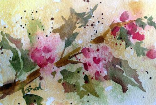"""Hollybranch 1"" original fine art by Sue Dion"