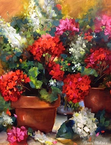 """Gateway Red Geraniums by Nancy Medina"" original fine art by Nancy Medina"