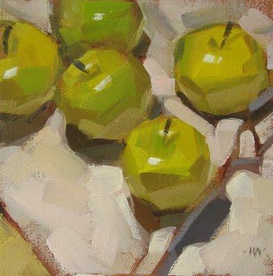 """Casual Apples"" original fine art by Carol Marine"