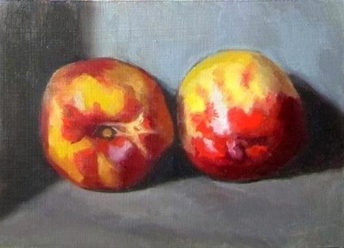 """13- Two Nectarines"" original fine art by Edward Watson"