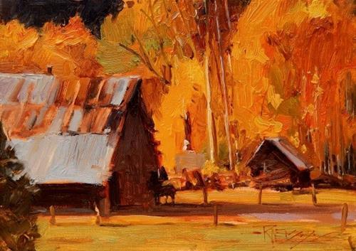 """""""Wenatchee Farm oil, landscape painting by Robin Weiss"""" original fine art by Robin Weiss"""