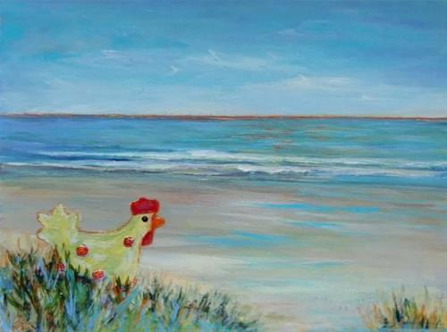 """3177 - Ms Chicken goes to the beach - Windpower Series"" original fine art by Sea Dean"