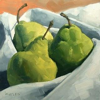 """""""Cozy Pears"""" original fine art by Michael Naples"""