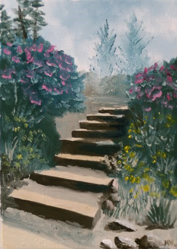 """""""Mark Webster - Stairs in the Flower Garden Oil Painting"""" original fine art by Mark Webster"""