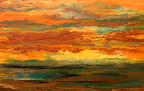 """""""Original Abstract Landscape Painting Blazing Sky Reflected IV by Colorado Abstract Artist Kimberly"""" original fine art by Kimberly Conrad"""