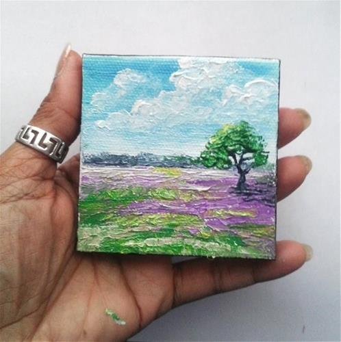 """Lavender field with tree"" original fine art by Camille Morgan"