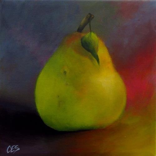 """""""Happy Pear"""" original fine art by ~ces~ Christine E. S. Code"""